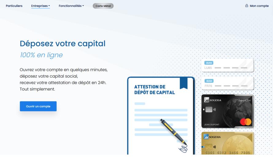 Création d'entreprise : déposez votre capital en ligne avec la néobanque Sogexia business
