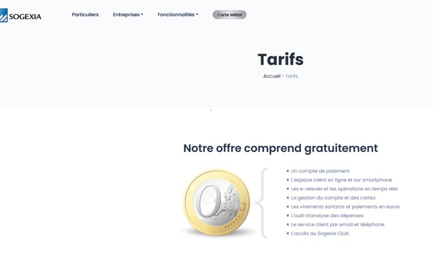 La tarification de la néobanque Sogexia pour les entreprises